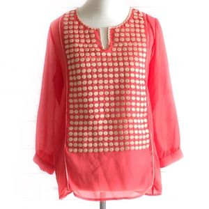 Collective concepts blouse, coral and off-white